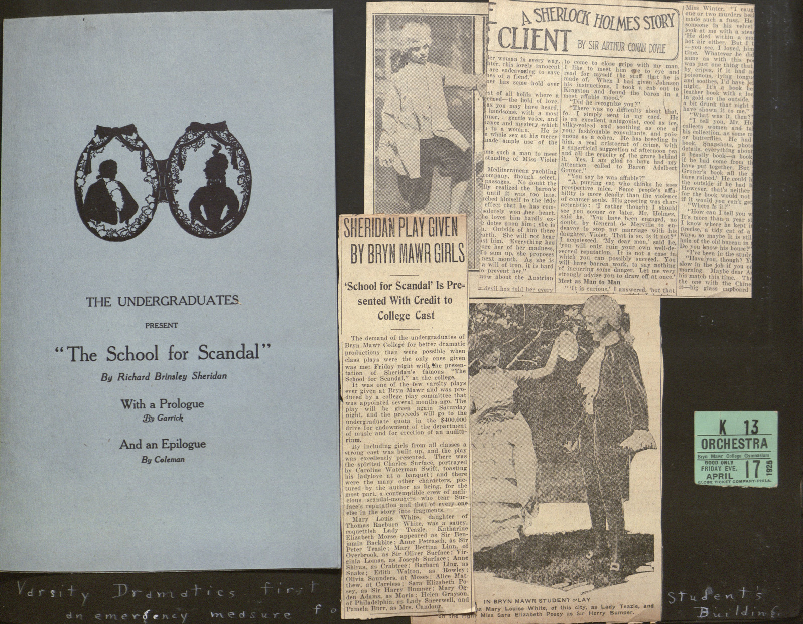 Page from the scrapbook of Lucy Shoe (Meritt), Class of 1927
