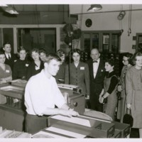 Bryn Mawr students and professors at IBM computer demonstration<br />