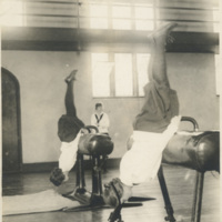 Students demonstrating gymnastics
