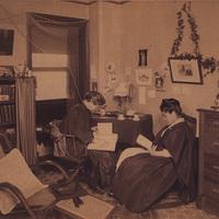Umeko Tsudo studying in dorm room with friend