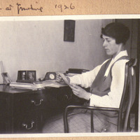 Margaret Bailey Speer at Desk