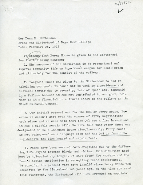 Letter to Dean Mary Patterson McPherson, 28 February, 1972